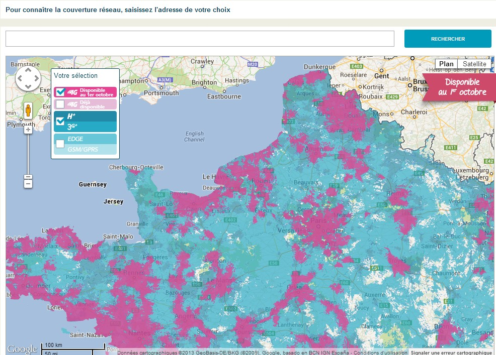 Map 4G Bouygues